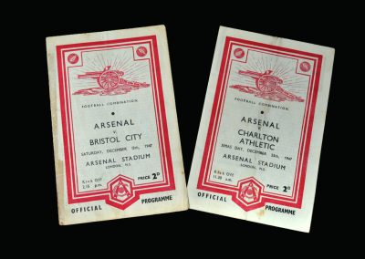 Arsenal v Bristol City 13.12.1947 | Arsenal v Charlton 25.12.1947