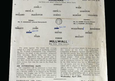Arsenal v Millwall 05.04.1948