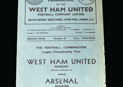 Arsenal v West Ham 01.05.1948 (Football Combination League Championship Final)