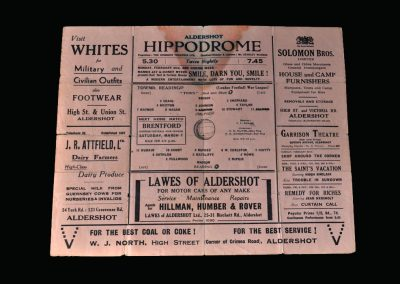 Aldershot v Reading 21.02.1942