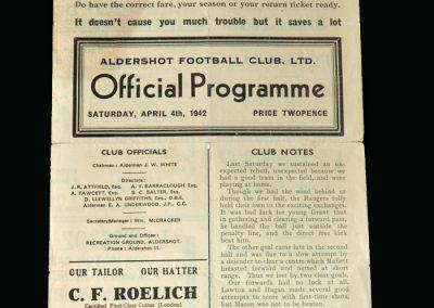 Aldershot v Millwall 04.04.1942