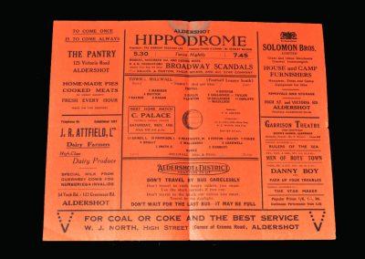 Aldershot v Millwall 31.10.1942
