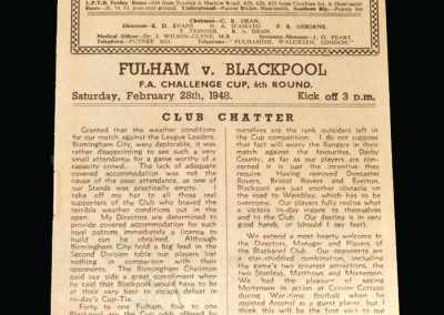 Blackpool v Fulham 28.02.1948 (FA Cup 6th Round)