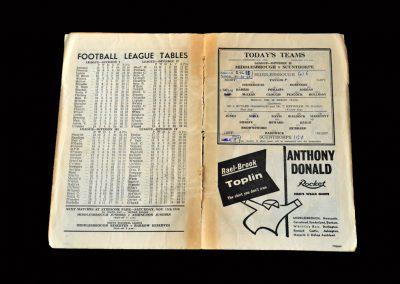 Middlesbrough v Scunthorpe 08.11.1958 (Hat Trick for Clough)