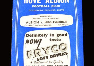 Brighton v Middlesbrough 20.12.1958 (Hat Trick for Clough)