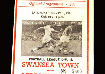 Swansea v Middlesbrough 15.04.1961 (1 Goal)