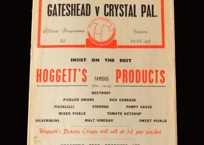 Gateshead v Crystal Palace 31.10.1959