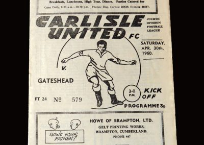 Gateshead v Carlisle 30.04.1960 (Last League Game)