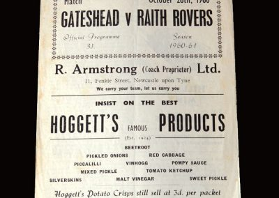 Gateshead v Raith Rovers 28.10.1960