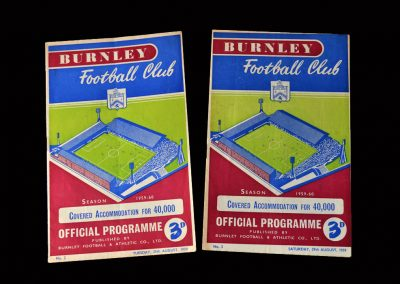 Burnley v Everton 25.08.1959 | Burnley v West Ham 29.08.1959