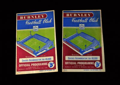 Burnley v Preston 08.09.1959 | Burnley v West Brom 12.09.1959
