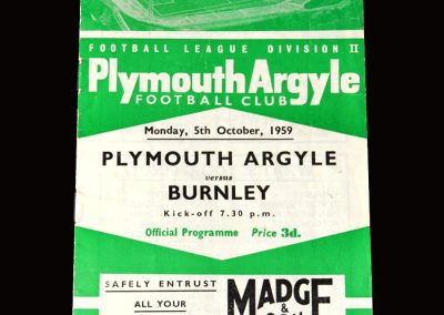 Burnley v Plymouth 05.10.1959