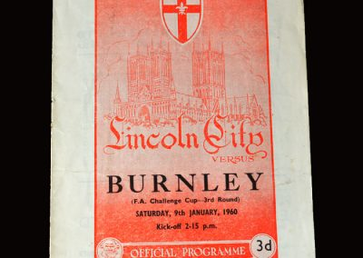 Burnley v Licoln City 09.01.1960 (FA Cup Round 3)