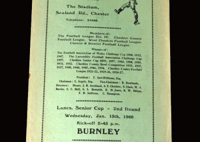 Burnley Reserves v Chester Reserves 13.01.1960