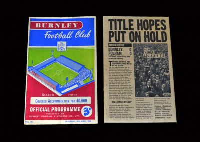 Burnley v Fulham 30.04.1960