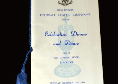 Burnley Champions Celebration Menu 18.10.1960