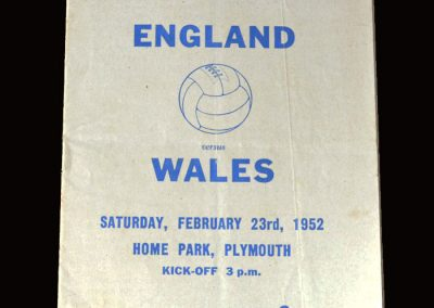 England Youth v Wales Youth 23.02.1952