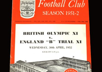 Olympic 11 v England B Trail 11 30.04.1952