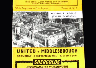 Middlesbrough v Oxford 03.09.1966