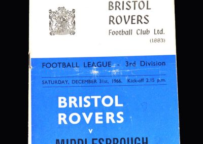 Middlesbrough v Bristol Rovers 31.12.1966