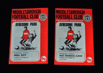 Middlesbrough v Hull 13.10.1973 | Middlesbrough v West Brom 20.10.1973