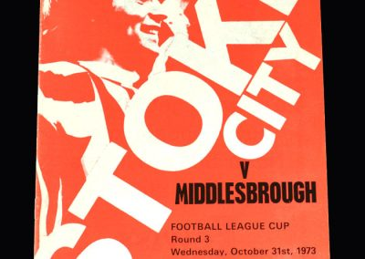 Middlesbrough v Stoke City 31.10.1973 (League Cup Round 3)