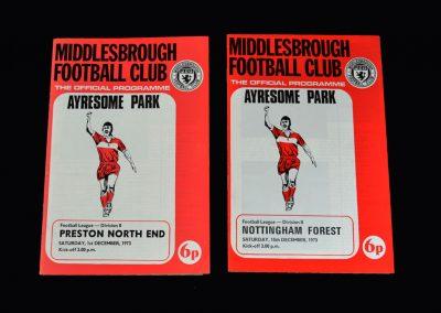 Middlesbrough v Preston 11.12.1973 (programme from postponed game on 01.12.1973) | Middlesbrough v Nottingham Forest 15.12.1973