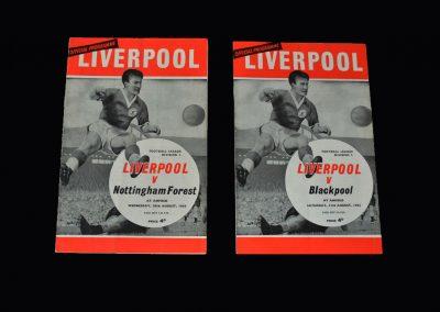 Liverpool v Notts Forest 28.08.1963 | Liverpool v Blackpool 31.08.1963