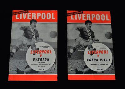 Liverpool v Everton 28.09.1963 | Liverpool v Aston Villa 05.10.1963