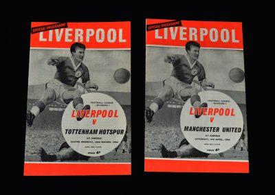 Liverpool v Spurs 30.03.1964 | Liverpool v Man Utd 04.04.1964