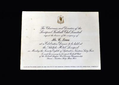 Liverpool Celeb Dinner Invitation 28.09.1964