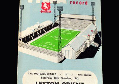 Orient v Aston Villa 20.10.1962