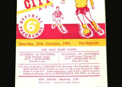 Bradford City v Hartlepools 30.10.1965 (1st Game)