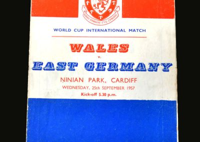Wales v East Germany 25.09.1957