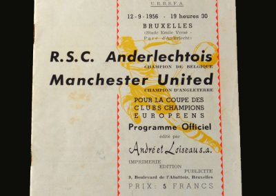 Man Utd v Anderlecht 12.09.1956 (European Cup preliminary round 1st leg) (First European Game)