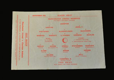 Man Utd Reserves v The Rest if the League 29.09.1956
