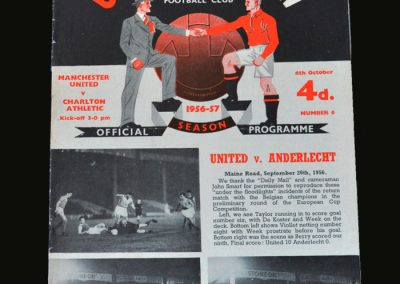 Man Utd v Charlton 06.10.1956 Bobby Charlton league debut