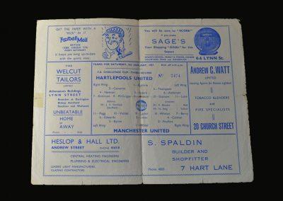 Man Utd v Hartlepool 05.01.1957 (FA Cup 3rd Round)
