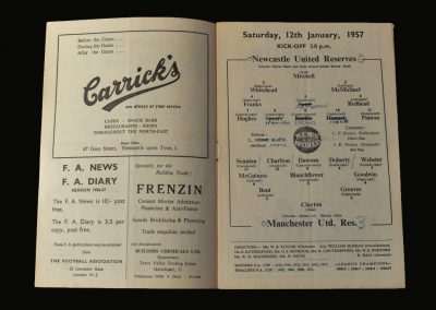 Man Utd Reserves v Newcastle Reserves 12.01.1957