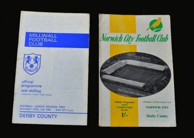 Millwall v Derby 12.04.1969 | Norwich v Derby 16.04.1969