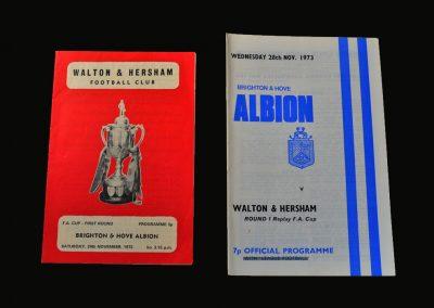 Brighton v Walton 28.11.1973 (FA Cup 1st Round - Lost 4-0)