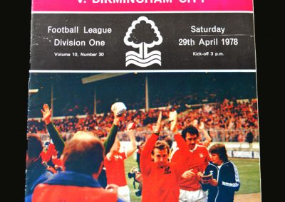 Forest v Birmingham 29.04.1978 (League Champions)