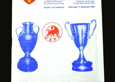 Valencia v Forest 17.12.1980 (European Super Cup 2nd Round)