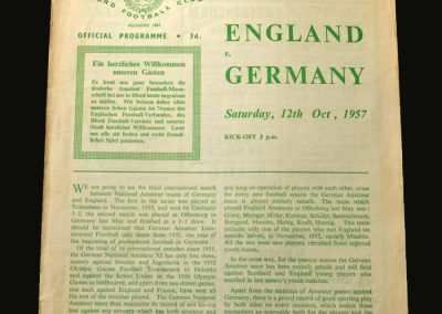 England v Germany 12.10.1957 (Amateur Match)