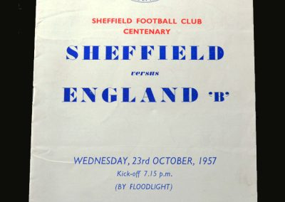 Sheffield v England B 23.10.1957