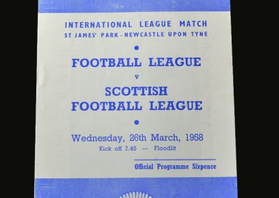 English League v Scottish League 26.03.1958