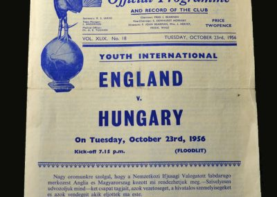 England v Hungary 23.10.1956 (Youth)
