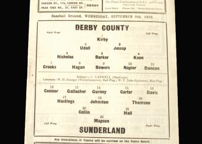 Derby v Sunderland 09.09.1936