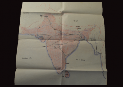 Large hand drawn map of Indian travel route