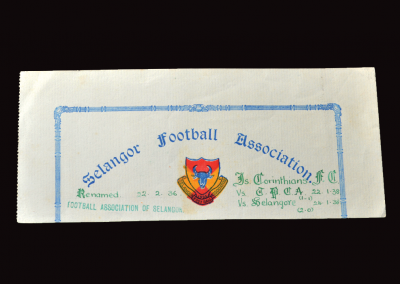 Selangor 22/24.01.1938 (Competition Ticket)